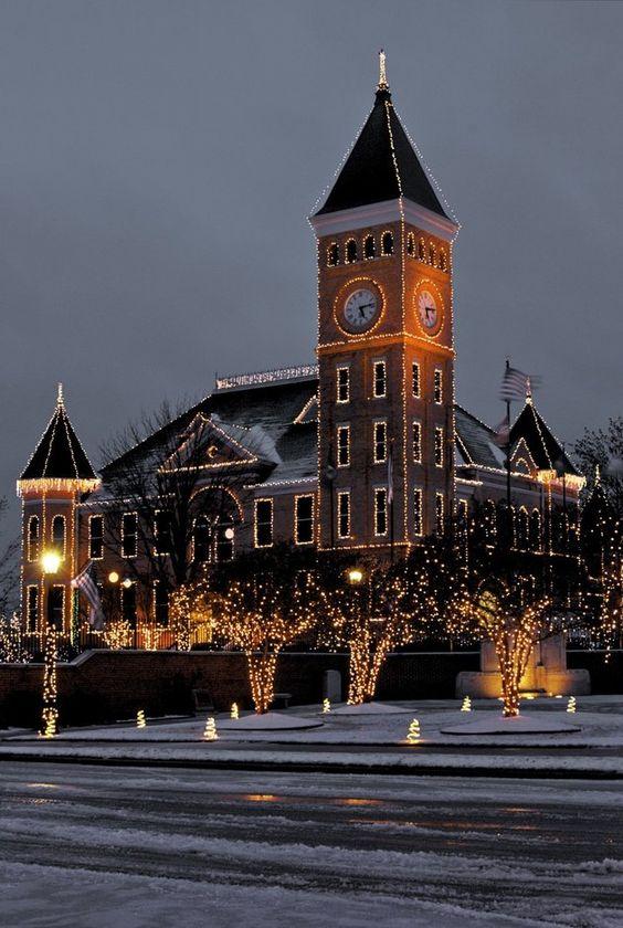 Downtown Benton Arkansas with Lights