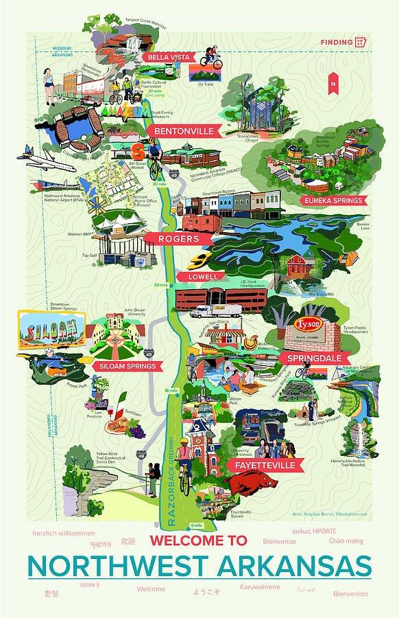 Illustrated Map of Northwest Arkansas